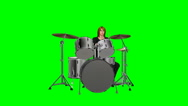 Stock Video Footage of Musician playing the drums on a green screen