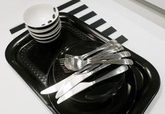 Kitchen Utensil, Set of Ceramic Plates, Bowls and Silverware, Preparing for S - stock photo