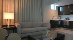 Hotel suite with kitchen and living room Stock Footage