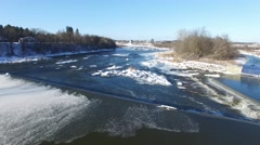 4k aerial winter river flight Stock Footage