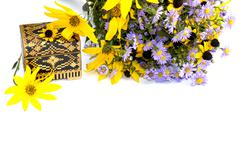 Bouquet of wild flowers and casket, isolate Stock Photos