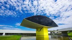 Stock Video Footage of Timelapse View of Oscar Niemeyer Museum (aka MON) in Curitiba, Brazil