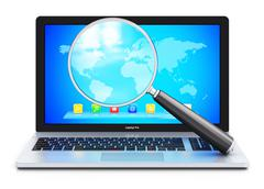 Laptop and magnifying glass - stock illustration