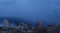 Winter Storm over Salt Lake City (4K) Stock Footage