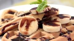 Homemade Waffles with Banana slices (seamless loopable, 4K) Stock Footage