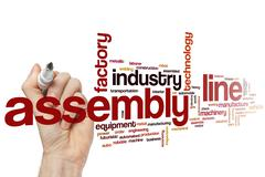Assembly line word cloud concept Stock Illustration