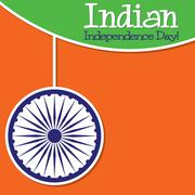 Bright string Indian Independence Day card in vector format.. - stock illustration