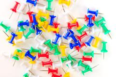 background colored drawing pins - stock photo