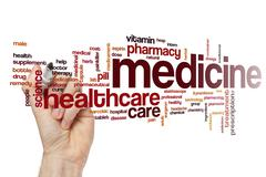 Medicine word cloud concept - stock illustration