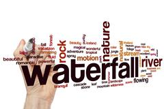 Waterfall word cloud concept - stock illustration