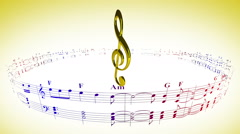 Violin clef rotating with music sheets, loop Stock Footage