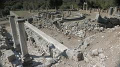 The temple terrace, ancient city of Kaunos, Dalyan valley, Turkey. 4k Stock Footage
