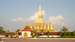TIMELAPSE That Luang temple with clouds,Vientiane,Laos Stock Footage