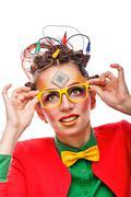Girl geek. Computer technician. Glasses. - stock photo