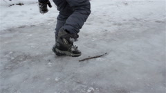Break through ice Stock Footage