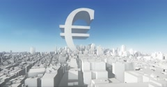 4k eur symbol & abstract urban,3D Virtual Geometric City Buildings,web tech. Stock Footage