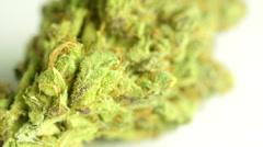 Rotating macro product shot of high quality marijuana, solid white background Stock Footage