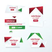 Stock Illustration of Labels collection set red, green color