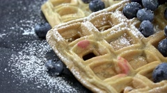 Waffles with Blueberries (not loopable, 4K) Stock Footage