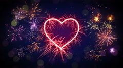 Sparkler heart shape and fireworks loop animation 4k (4096x2304) Stock Footage