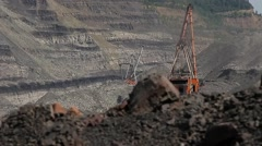 Walking excavator in coal mine Stock Footage