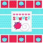 Stock Illustration of Summer card creeping ladybug vector illustration