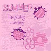 Stock Illustration of Pink card creeping ladybug vector illustration
