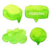 Speak bubbles watercolor set vector Stock Illustration
