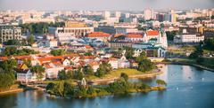 Panorama, cityscape of Minsk, Belarus. Summer season, sunset tim Stock Photos