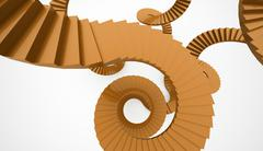 Spiral stairs concept rendered - stock illustration