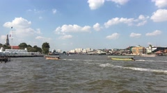 Long-tail boats at the Chao Phraya Stock Footage