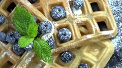 Rotating Waffles with Blueberries (not loopable, 4K) Stock Footage