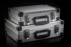 Aluminum metal case boxes - stock photo