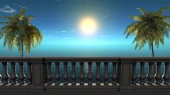 3d balcony near sea under deep blue sky,palm Stock Footage