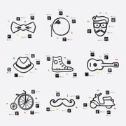 hipster infographic - stock illustration