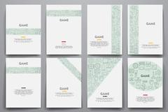 Corporate identity vector templates set with doodles gaming theme Piirros