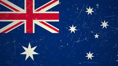 Stock Illustration of Australian flag with grunge texture.