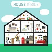 House inside interior. - stock illustration