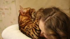 Bengal cat biting his mistress. Stock Footage