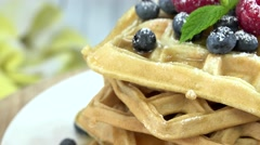 Waffles with mixed Berries (seamless loopable, 4K) Stock Footage