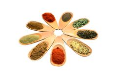 Wooden spice spoons Stock Photos