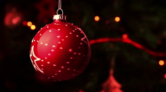 Christmas decoration red ball. abstract blurred bokeh holiday background Stock Footage
