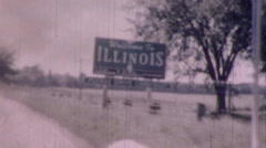 Welcome to Illinois STATE LINE SIGN Travel 1950s Vintage Film Home Movie 9336 Stock Footage