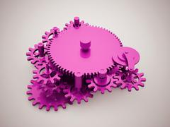 Gears mechanism concept - stock illustration
