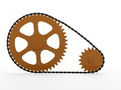 Gears with chain concept rendered Stock Illustration