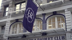 Exterior of New York Health and Racquet Club sign on 13th street Manhattan NYC Stock Footage