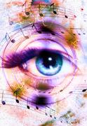 Woman Eye and music note and cosmic space with stars. abstract color background Stock Illustration