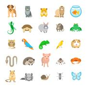 Animals pets vector flat colorful icons set - stock illustration