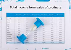 Financial report on paper. The countdown profits - stock photo