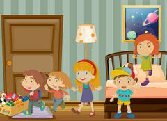 Children playing in the bedroom Stock Illustration